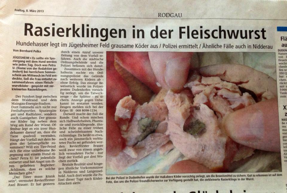 Zeitungsartikel Rasierklingen in Fleischwurst